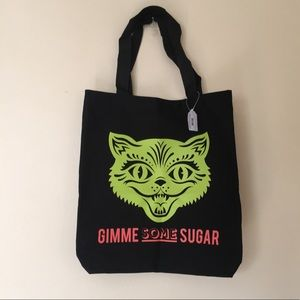 Paper Source Halloween Tote Bag w/ Neon Kitty Cat